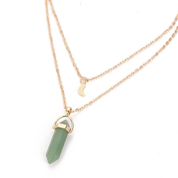 c2ffa36ffb074 Jade Green Opal Bullet Gold Moon Layered Necklace Boutique
